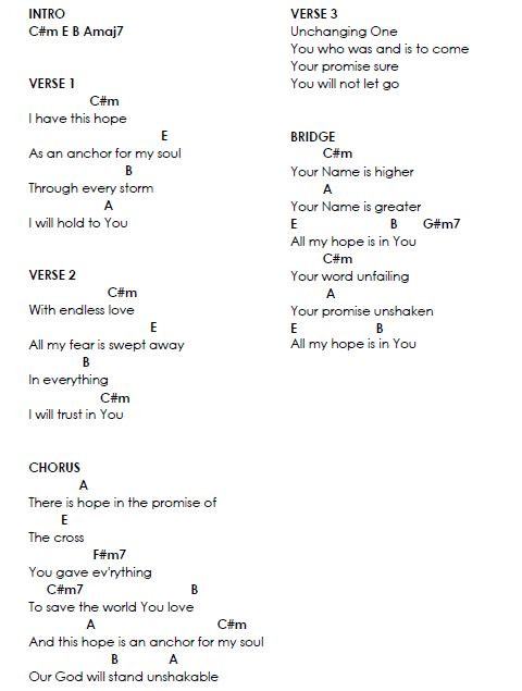Hillsong - Anchor Lyrics & Chords